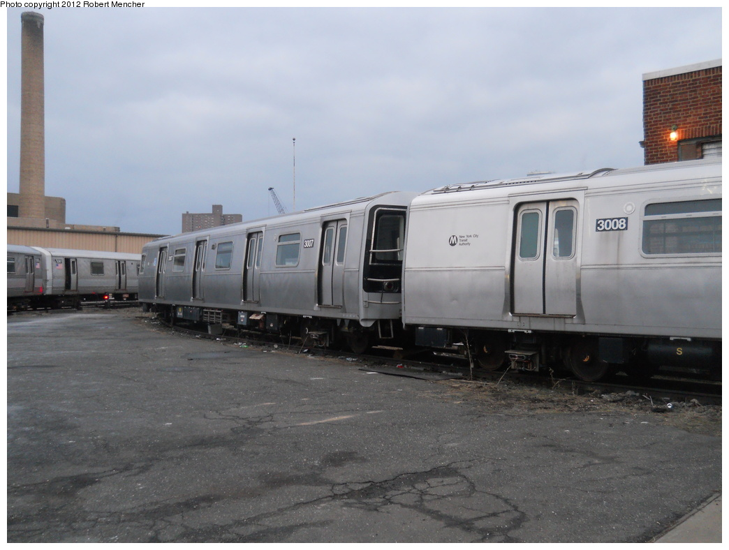 (309k, 1044x788)<br><b>Country:</b> United States<br><b>City:</b> New York<br><b>System:</b> New York City Transit<br><b>Location:</b> 207th Street Yard<br><b>Car:</b> R-110B (Bombardier, 1992) 3007 <br><b>Photo by:</b> Robert Mencher<br><b>Date:</b> 2/11/2012<br><b>Viewed (this week/total):</b> 1 / 1078