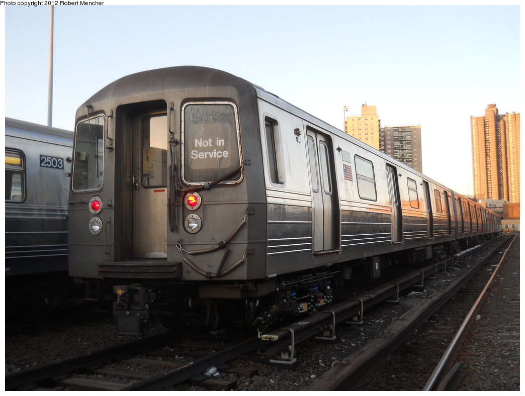 (306k, 1044x788)<br><b>Country:</b> United States<br><b>City:</b> New York<br><b>System:</b> New York City Transit<br><b>Location:</b> Concourse Yard<br><b>Car:</b> R-68 (Westinghouse-Amrail, 1986-1988)  2764 <br><b>Photo by:</b> Robert Mencher<br><b>Date:</b> 2/13/2012<br><b>Viewed (this week/total):</b> 3 / 265