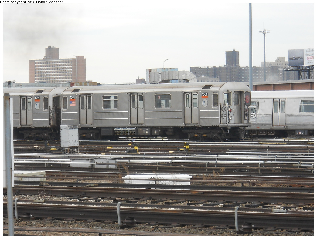 (353k, 1044x788)<br><b>Country:</b> United States<br><b>City:</b> New York<br><b>System:</b> New York City Transit<br><b>Location:</b> Coney Island Yard<br><b>Car:</b> R-62 (Kawasaki, 1983-1985)  1561 <br><b>Photo by:</b> Robert Mencher<br><b>Date:</b> 2/14/2012<br><b>Viewed (this week/total):</b> 0 / 257