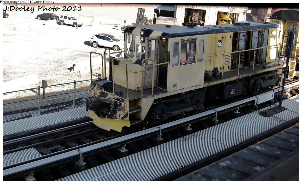 (365k, 1044x636)<br><b>Country:</b> United States<br><b>City:</b> New York<br><b>System:</b> New York City Transit<br><b>Location:</b> Coney Island Yard<br><b>Route:</b> Work Service<br><b>Car:</b> R-47 Locomotive  66 <br><b>Photo by:</b> John Dooley<br><b>Date:</b> 10/9/2011<br><b>Notes:</b> Avenue X yard leads.<br><b>Viewed (this week/total):</b> 0 / 95