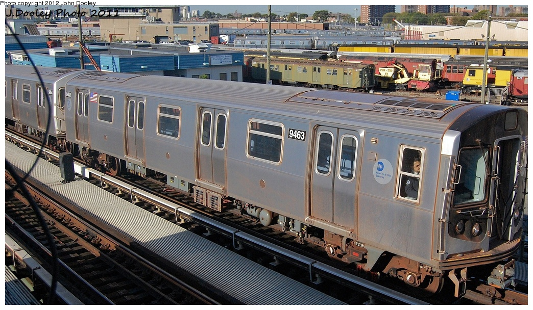 (387k, 1044x608)<br><b>Country:</b> United States<br><b>City:</b> New York<br><b>System:</b> New York City Transit<br><b>Location:</b> Coney Island Yard<br><b>Car:</b> R-160A (Option 1) (Alstom, 2008-2009, 5 car sets)  9463 <br><b>Photo by:</b> John Dooley<br><b>Date:</b> 10/9/2011<br><b>Notes:</b> Avenue X yard leads.<br><b>Viewed (this week/total):</b> 0 / 329