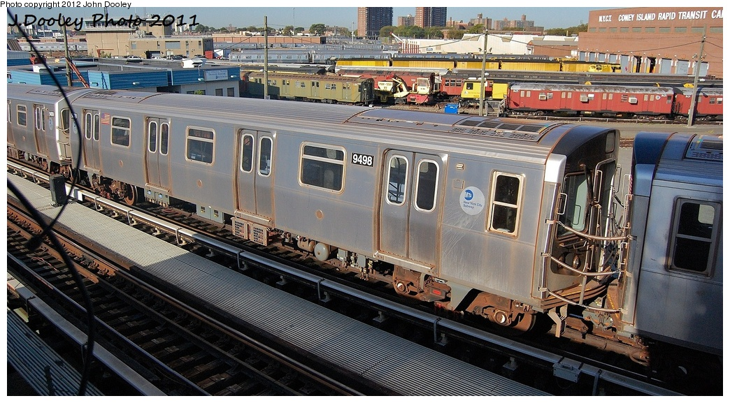 (371k, 1044x577)<br><b>Country:</b> United States<br><b>City:</b> New York<br><b>System:</b> New York City Transit<br><b>Location:</b> Coney Island Yard<br><b>Car:</b> R-160A (Option 1) (Alstom, 2008-2009, 5 car sets)  9498 <br><b>Photo by:</b> John Dooley<br><b>Date:</b> 10/9/2011<br><b>Notes:</b> Avenue X yard leads.<br><b>Viewed (this week/total):</b> 2 / 588