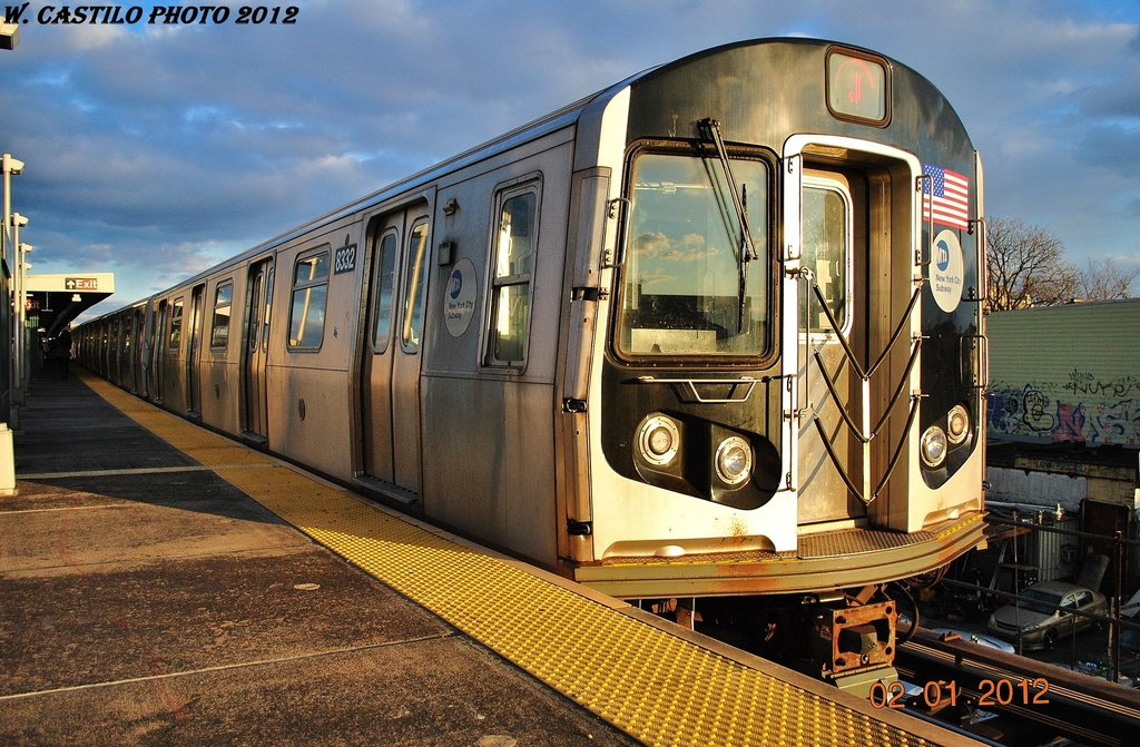 (381k, 1024x671)<br><b>Country:</b> United States<br><b>City:</b> New York<br><b>System:</b> New York City Transit<br><b>Line:</b> BMT Nassau Street/Jamaica Line<br><b>Location:</b> Van Siclen Avenue <br><b>Route:</b> J<br><b>Car:</b> R-160A-1 (Alstom, 2005-2008, 4 car sets)  8332 <br><b>Photo by:</b> Wilfredo Castillo<br><b>Date:</b> 1/2/2012<br><b>Viewed (this week/total):</b> 2 / 802