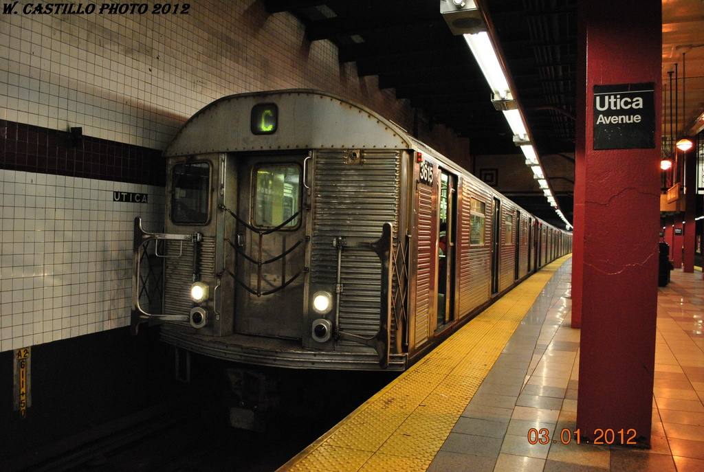 (312k, 1024x687)<br><b>Country:</b> United States<br><b>City:</b> New York<br><b>System:</b> New York City Transit<br><b>Line:</b> IND Fulton Street Line<br><b>Location:</b> Utica Avenue <br><b>Route:</b> C<br><b>Car:</b> R-32 (Budd, 1964)  3615 <br><b>Photo by:</b> Wilfredo Castillo<br><b>Date:</b> 1/3/2012<br><b>Viewed (this week/total):</b> 1 / 311