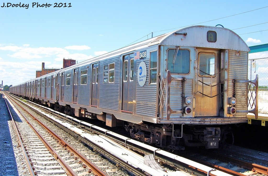 (385k, 1024x673)<br><b>Country:</b> United States<br><b>City:</b> New York<br><b>System:</b> New York City Transit<br><b>Line:</b> IND Rockaway<br><b>Location:</b> Beach 67th Street/Gaston Avenue <br><b>Route:</b> A<br><b>Car:</b> R-32 (Budd, 1964)  3438 <br><b>Photo by:</b> John Dooley<br><b>Date:</b> 8/11/2011<br><b>Viewed (this week/total):</b> 1 / 316