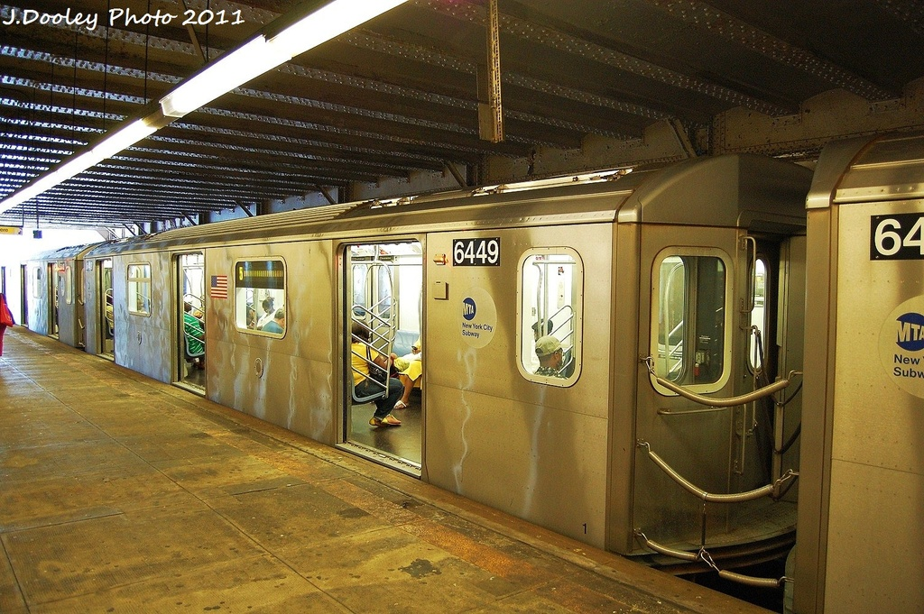 (391k, 1024x681)<br><b>Country:</b> United States<br><b>City:</b> New York<br><b>System:</b> New York City Transit<br><b>Line:</b> IRT Dyre Ave. Line<br><b>Location:</b> Morris Park <br><b>Route:</b> 5<br><b>Car:</b> R-142 (Primary Order, Bombardier, 1999-2002)  6449 <br><b>Photo by:</b> John Dooley<br><b>Date:</b> 6/28/2011<br><b>Viewed (this week/total):</b> 3 / 366