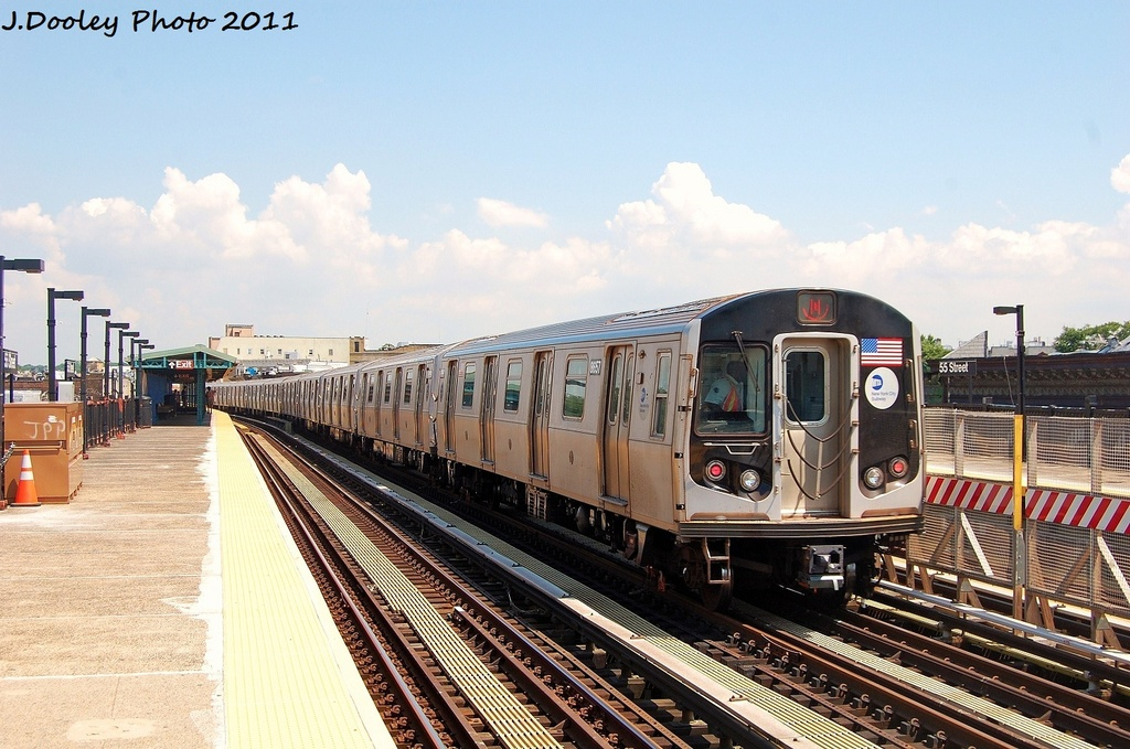 (339k, 1024x679)<br><b>Country:</b> United States<br><b>City:</b> New York<br><b>System:</b> New York City Transit<br><b>Line:</b> BMT West End Line<br><b>Location:</b> 55th Street <br><b>Route:</b> Yard move<br><b>Car:</b> R-160A-2 (Alstom, 2005-2008, 5 car sets)  8657 <br><b>Photo by:</b> John Dooley<br><b>Date:</b> 8/5/2011<br><b>Viewed (this week/total):</b> 1 / 314