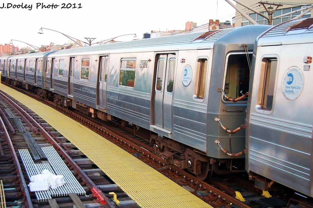 (380k, 1024x680)<br><b>Country:</b> United States<br><b>City:</b> New York<br><b>System:</b> New York City Transit<br><b>Line:</b> BMT Brighton Line<br><b>Location:</b> Ocean Parkway <br><b>Route:</b> Q<br><b>Car:</b> R-68A (Kawasaki, 1988-1989)  5070 <br><b>Photo by:</b> John Dooley<br><b>Date:</b> 8/10/2011<br><b>Viewed (this week/total):</b> 2 / 666