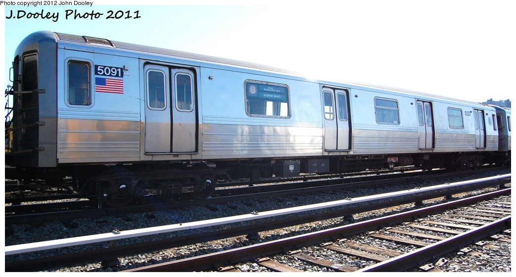 (276k, 1044x560)<br><b>Country:</b> United States<br><b>City:</b> New York<br><b>System:</b> New York City Transit<br><b>Location:</b> Coney Island Yard<br><b>Car:</b> R-68A (Kawasaki, 1988-1989)  5091 <br><b>Photo by:</b> John Dooley<br><b>Date:</b> 10/9/2011<br><b>Viewed (this week/total):</b> 0 / 188
