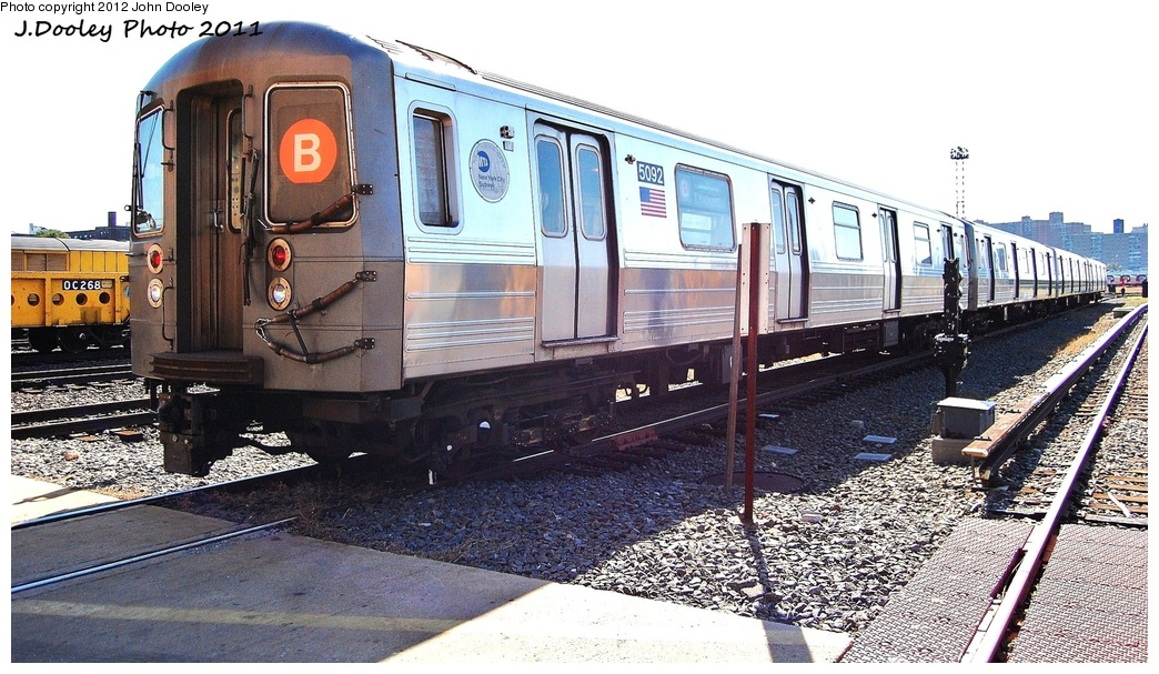 (348k, 1044x607)<br><b>Country:</b> United States<br><b>City:</b> New York<br><b>System:</b> New York City Transit<br><b>Location:</b> Coney Island Yard<br><b>Car:</b> R-68A (Kawasaki, 1988-1989)  5092 <br><b>Photo by:</b> John Dooley<br><b>Date:</b> 10/9/2011<br><b>Viewed (this week/total):</b> 0 / 273