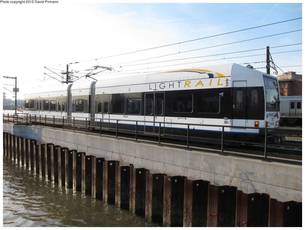 (286k, 1044x788)<br><b>Country:</b> United States<br><b>City:</b> Hoboken, NJ<br><b>System:</b> Hudson Bergen Light Rail<br><b>Location:</b> Hoboken <br><b>Car:</b> NJT-HBLR LRV (Kinki-Sharyo, 1998-99)  2042 <br><b>Photo by:</b> David Pirmann<br><b>Date:</b> 3/7/2012<br><b>Viewed (this week/total):</b> 0 / 95