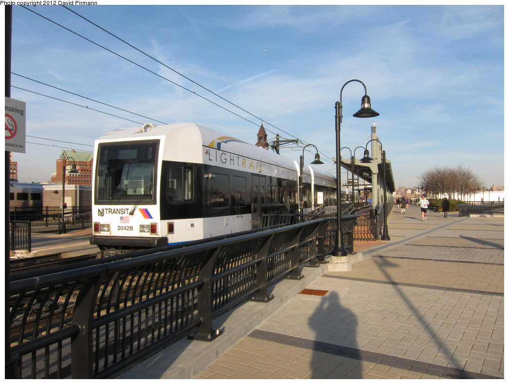 (312k, 1044x788)<br><b>Country:</b> United States<br><b>City:</b> Hoboken, NJ<br><b>System:</b> Hudson Bergen Light Rail<br><b>Location:</b> Hoboken <br><b>Car:</b> NJT-HBLR LRV (Kinki-Sharyo, 1998-99)  2042 <br><b>Photo by:</b> David Pirmann<br><b>Date:</b> 3/7/2012<br><b>Viewed (this week/total):</b> 1 / 174