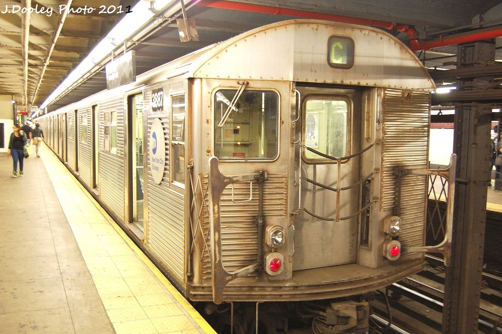 (374k, 1024x681)<br><b>Country:</b> United States<br><b>City:</b> New York<br><b>System:</b> New York City Transit<br><b>Line:</b> IND 8th Avenue Line<br><b>Location:</b> 168th Street <br><b>Route:</b> C<br><b>Car:</b> R-32 (Budd, 1964)  3887 <br><b>Photo by:</b> John Dooley<br><b>Date:</b> 9/22/2011<br><b>Viewed (this week/total):</b> 10 / 382