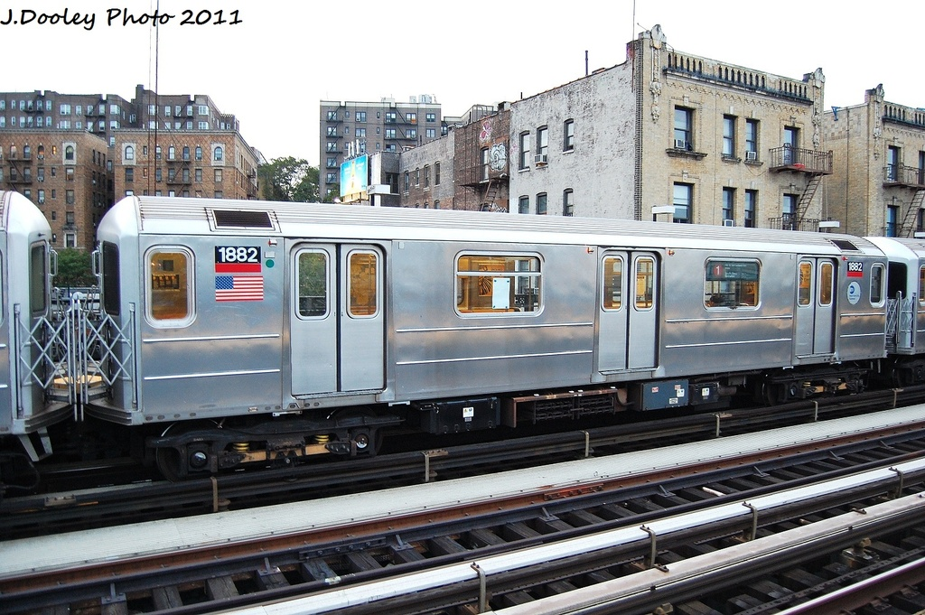 (368k, 1024x681)<br><b>Country:</b> United States<br><b>City:</b> New York<br><b>System:</b> New York City Transit<br><b>Line:</b> IRT West Side Line<br><b>Location:</b> 215th Street <br><b>Route:</b> 1<br><b>Car:</b> R-62A (Bombardier, 1984-1987)  1888 <br><b>Photo by:</b> John Dooley<br><b>Date:</b> 9/22/2011<br><b>Viewed (this week/total):</b> 2 / 609