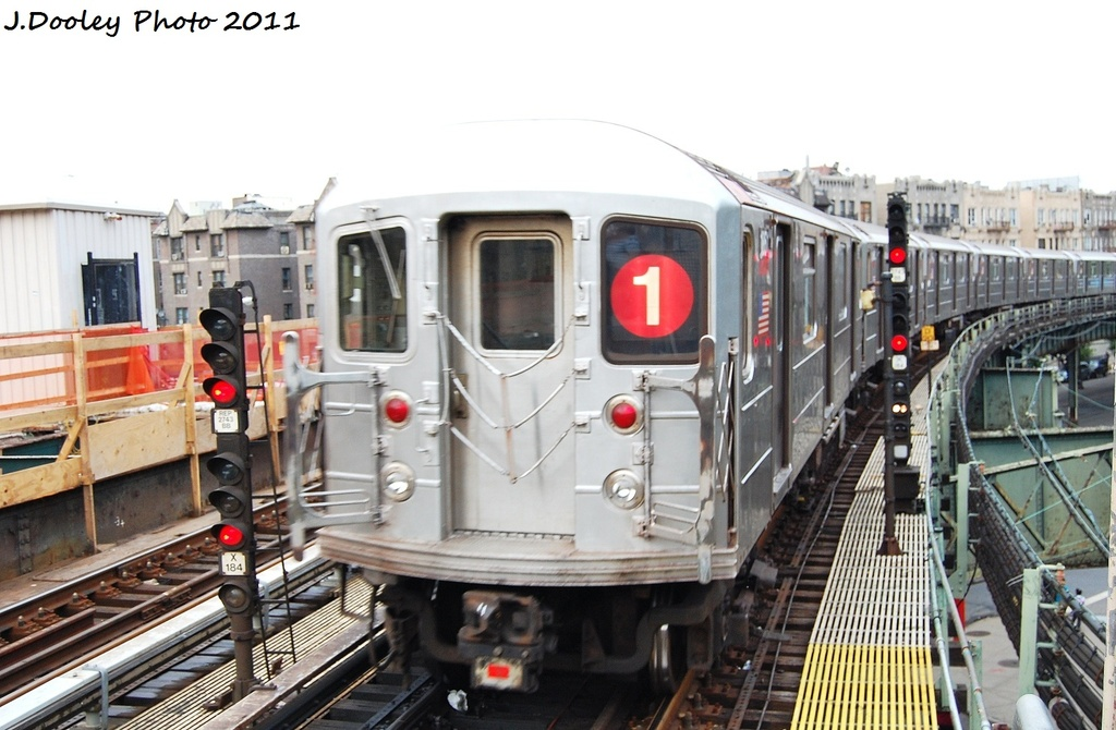 (295k, 1024x670)<br><b>Country:</b> United States<br><b>City:</b> New York<br><b>System:</b> New York City Transit<br><b>Line:</b> IRT West Side Line<br><b>Location:</b> Dyckman Street <br><b>Route:</b> 1<br><b>Car:</b> R-62A (Bombardier, 1984-1987)  1888 <br><b>Photo by:</b> John Dooley<br><b>Date:</b> 9/22/2011<br><b>Viewed (this week/total):</b> 0 / 379