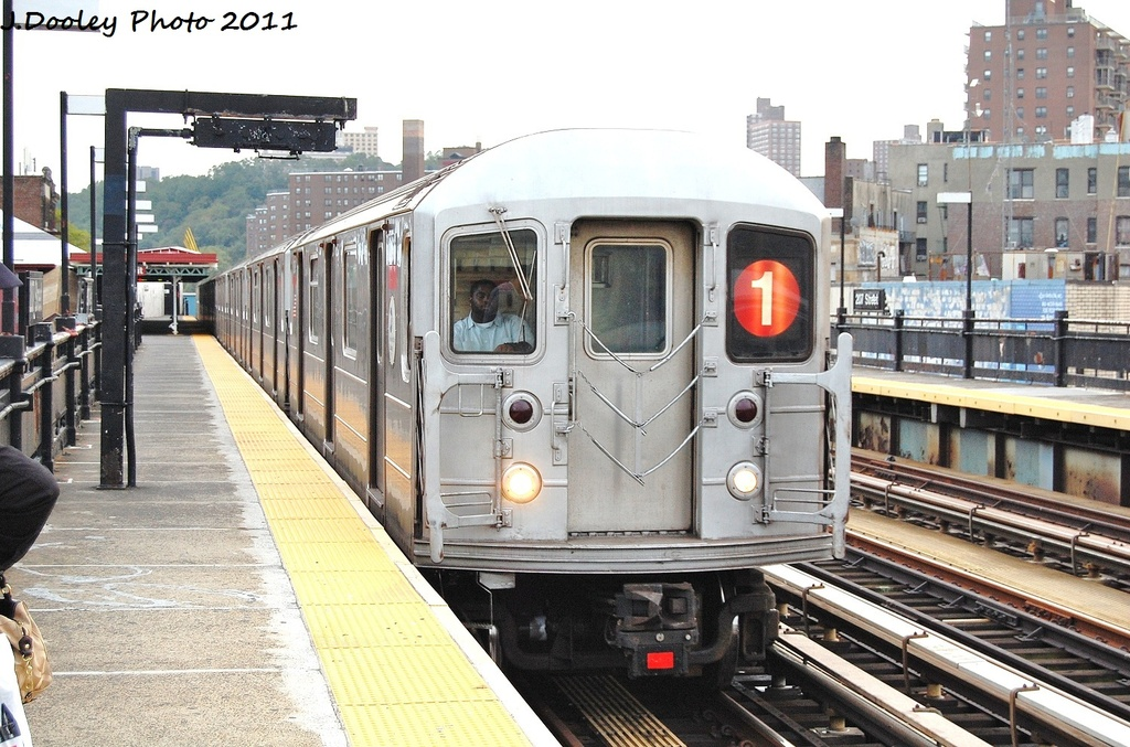 (359k, 1024x677)<br><b>Country:</b> United States<br><b>City:</b> New York<br><b>System:</b> New York City Transit<br><b>Line:</b> IRT West Side Line<br><b>Location:</b> 207th Street <br><b>Route:</b> 1<br><b>Car:</b> R-62A (Bombardier, 1984-1987)  2166 <br><b>Photo by:</b> John Dooley<br><b>Date:</b> 9/22/2011<br><b>Viewed (this week/total):</b> 0 / 296