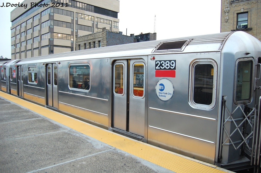 (330k, 1024x681)<br><b>Country:</b> United States<br><b>City:</b> New York<br><b>System:</b> New York City Transit<br><b>Line:</b> IRT West Side Line<br><b>Location:</b> 215th Street <br><b>Route:</b> 1<br><b>Car:</b> R-62A (Bombardier, 1984-1987)  2389 <br><b>Photo by:</b> John Dooley<br><b>Date:</b> 9/22/2011<br><b>Viewed (this week/total):</b> 4 / 341