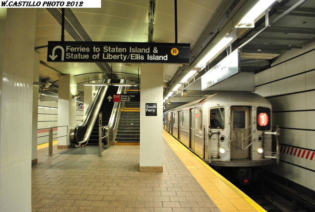 (295k, 1024x687)<br><b>Country:</b> United States<br><b>City:</b> New York<br><b>System:</b> New York City Transit<br><b>Line:</b> IRT West Side Line<br><b>Location:</b> South Ferry (New Station) <br><b>Route:</b> 1<br><b>Car:</b> R-62A (Bombardier, 1984-1987)   <br><b>Photo by:</b> Wilfredo Castillo<br><b>Date:</b> 2/25/2012<br><b>Viewed (this week/total):</b> 2 / 857