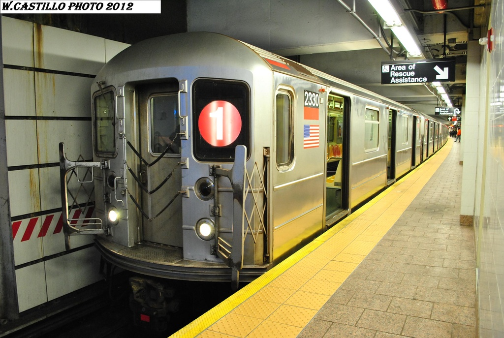 (303k, 1024x687)<br><b>Country:</b> United States<br><b>City:</b> New York<br><b>System:</b> New York City Transit<br><b>Line:</b> IRT West Side Line<br><b>Location:</b> South Ferry (New Station) <br><b>Route:</b> 1<br><b>Car:</b> R-62A (Bombardier, 1984-1987)  2330 <br><b>Photo by:</b> Wilfredo Castillo<br><b>Date:</b> 2/25/2012<br><b>Viewed (this week/total):</b> 2 / 917