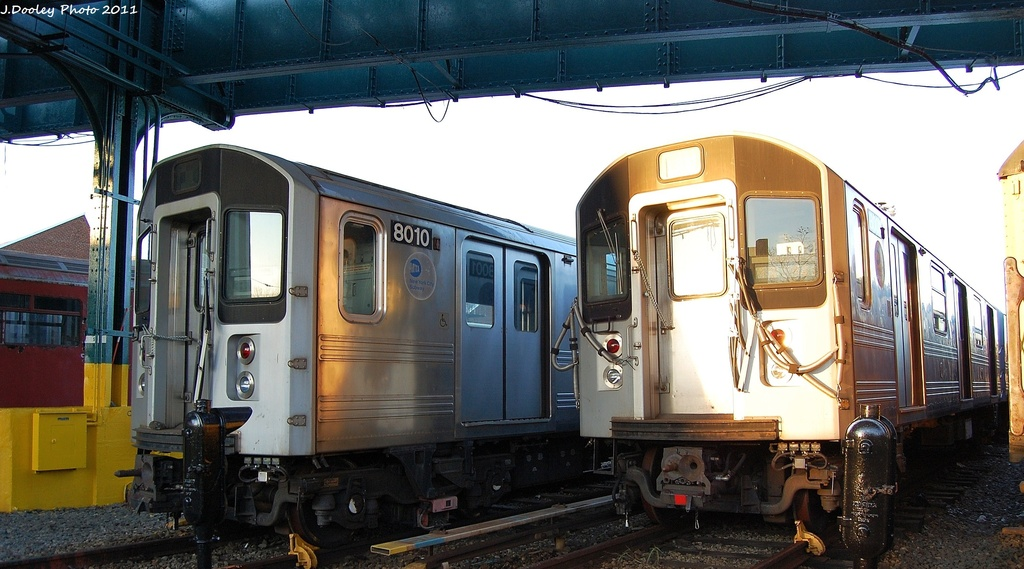 (286k, 1024x569)<br><b>Country:</b> United States<br><b>City:</b> New York<br><b>System:</b> New York City Transit<br><b>Location:</b> 239th Street Yard<br><b>Car:</b> R-110A (Kawasaki, 1992) 8010/8001 <br><b>Photo by:</b> John Dooley<br><b>Date:</b> 12/8/2011<br><b>Viewed (this week/total):</b> 1 / 704