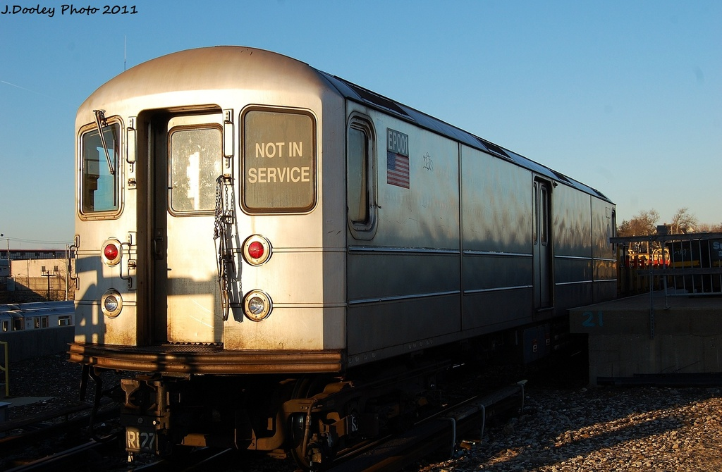 (274k, 1024x670)<br><b>Country:</b> United States<br><b>City:</b> New York<br><b>System:</b> New York City Transit<br><b>Location:</b> 239th Street Yard<br><b>Car:</b> R-127/R-134 (Kawasaki, 1991-1996) EP001 <br><b>Photo by:</b> John Dooley<br><b>Date:</b> 12/8/2011<br><b>Viewed (this week/total):</b> 3 / 205