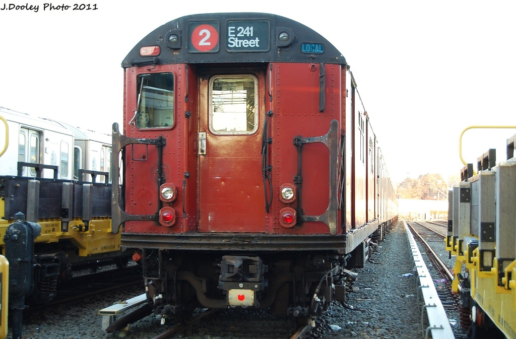 (280k, 1024x673)<br><b>Country:</b> United States<br><b>City:</b> New York<br><b>System:</b> New York City Transit<br><b>Location:</b> 239th Street Yard<br><b>Car:</b> R-33 World's Fair (St. Louis, 1963-64) 9310 <br><b>Photo by:</b> John Dooley<br><b>Date:</b> 12/8/2011<br><b>Viewed (this week/total):</b> 5 / 854