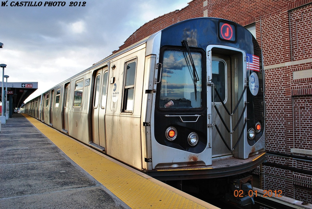 (389k, 1024x687)<br><b>Country:</b> United States<br><b>City:</b> New York<br><b>System:</b> New York City Transit<br><b>Line:</b> BMT Nassau Street/Jamaica Line<br><b>Location:</b> Crescent Street <br><b>Route:</b> J<br><b>Car:</b> R-160A-1 (Alstom, 2005-2008, 4 car sets)  8573 <br><b>Photo by:</b> Wilfredo Castillo<br><b>Date:</b> 1/2/2012<br><b>Viewed (this week/total):</b> 1 / 484