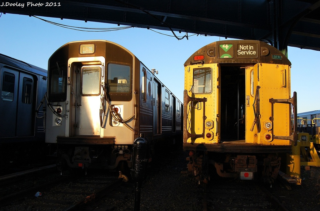 (293k, 1024x674)<br><b>Country:</b> United States<br><b>City:</b> New York<br><b>System:</b> New York City Transit<br><b>Location:</b> 239th Street Yard<br><b>Car:</b> R-33 World's Fair (St. Louis, 1963-64)  <br><b>Photo by:</b> John Dooley<br><b>Date:</b> 12/8/2011<br><b>Notes:</b> With R-110A 8001<br><b>Viewed (this week/total):</b> 4 / 505