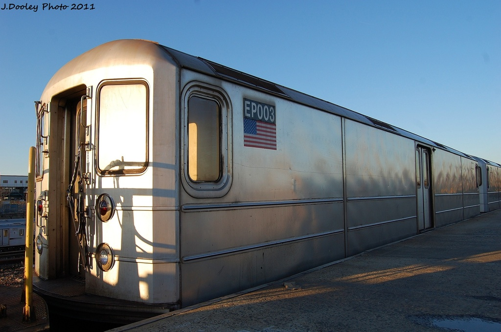 (264k, 1024x679)<br><b>Country:</b> United States<br><b>City:</b> New York<br><b>System:</b> New York City Transit<br><b>Location:</b> 239th Street Yard<br><b>Car:</b> R-127/R-134 (Kawasaki, 1991-1996) EP003 <br><b>Photo by:</b> John Dooley<br><b>Date:</b> 12/8/2011<br><b>Viewed (this week/total):</b> 2 / 236