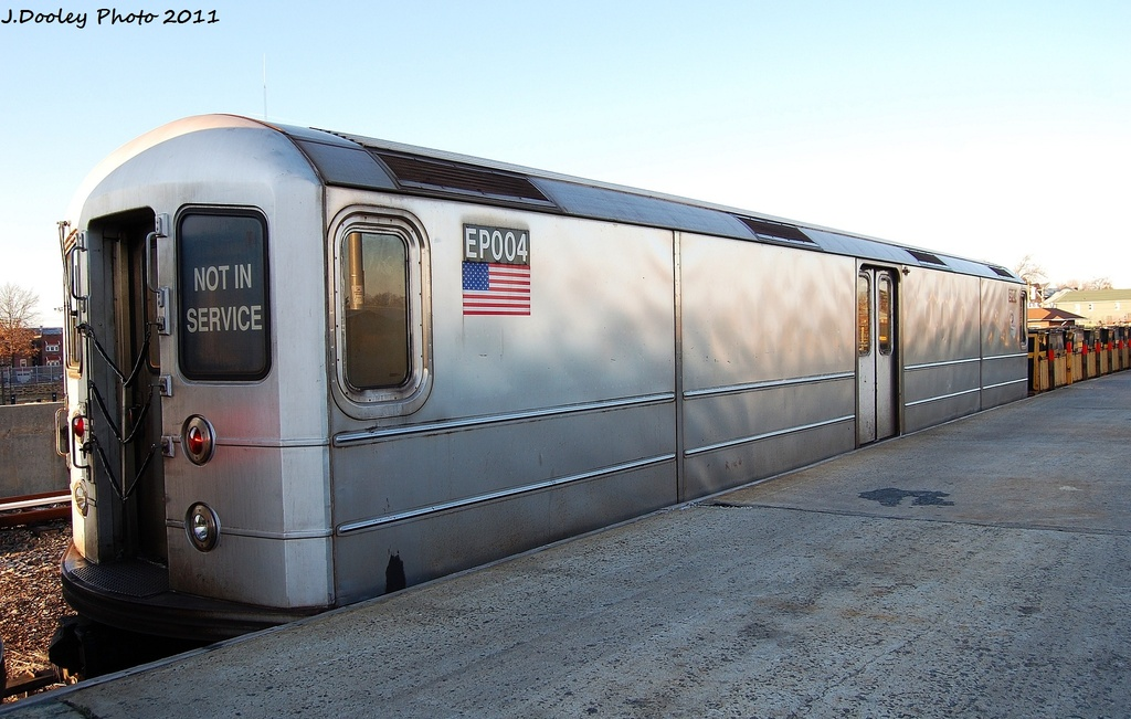 (292k, 1024x651)<br><b>Country:</b> United States<br><b>City:</b> New York<br><b>System:</b> New York City Transit<br><b>Location:</b> 239th Street Yard<br><b>Car:</b> R-127/R-134 (Kawasaki, 1991-1996) EP004 <br><b>Photo by:</b> John Dooley<br><b>Date:</b> 12/8/2011<br><b>Viewed (this week/total):</b> 4 / 253
