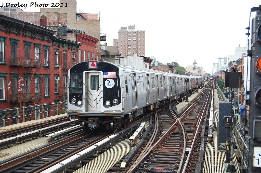 (409k, 1024x681)<br><b>Country:</b> United States<br><b>City:</b> New York<br><b>System:</b> New York City Transit<br><b>Line:</b> BMT Nassau Street/Jamaica Line<br><b>Location:</b> Hewes Street <br><b>Route:</b> J<br><b>Car:</b> R-160A-1 (Alstom, 2005-2008, 4 car sets)  8557 <br><b>Photo by:</b> John Dooley<br><b>Date:</b> 9/20/2011<br><b>Viewed (this week/total):</b> 0 / 447