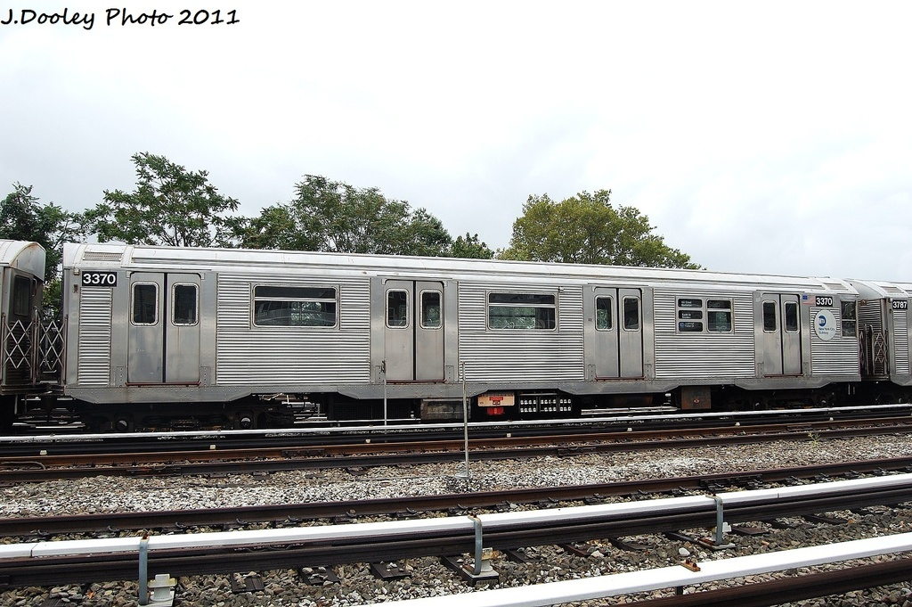 (347k, 1024x681)<br><b>Country:</b> United States<br><b>City:</b> New York<br><b>System:</b> New York City Transit<br><b>Location:</b> Fresh Pond Yard<br><b>Car:</b> R-32 (Budd, 1964)  3370 <br><b>Photo by:</b> John Dooley<br><b>Date:</b> 9/20/2011<br><b>Viewed (this week/total):</b> 1 / 304