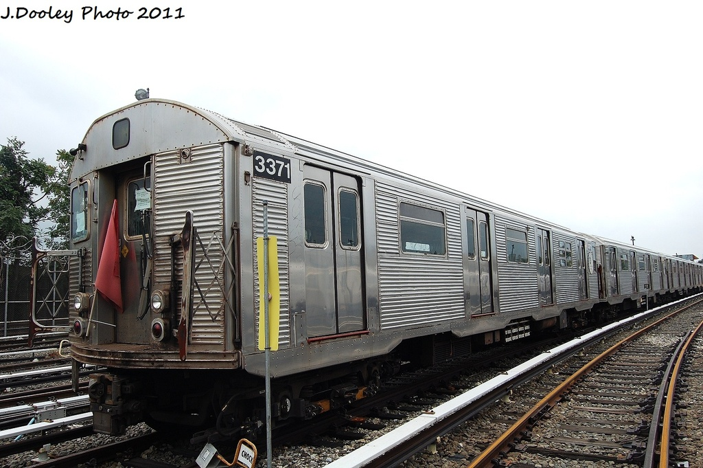 (325k, 1024x681)<br><b>Country:</b> United States<br><b>City:</b> New York<br><b>System:</b> New York City Transit<br><b>Location:</b> Fresh Pond Yard<br><b>Car:</b> R-32 (Budd, 1964)  3371 <br><b>Photo by:</b> John Dooley<br><b>Date:</b> 9/20/2011<br><b>Viewed (this week/total):</b> 4 / 326