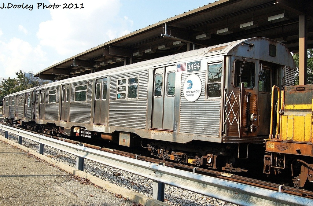 (429k, 1024x674)<br><b>Country:</b> United States<br><b>City:</b> New York<br><b>System:</b> New York City Transit<br><b>Location:</b> 36th Street Yard<br><b>Car:</b> R-32 (Budd, 1964)  3494 <br><b>Photo by:</b> John Dooley<br><b>Date:</b> 9/13/2011<br><b>Viewed (this week/total):</b> 4 / 288