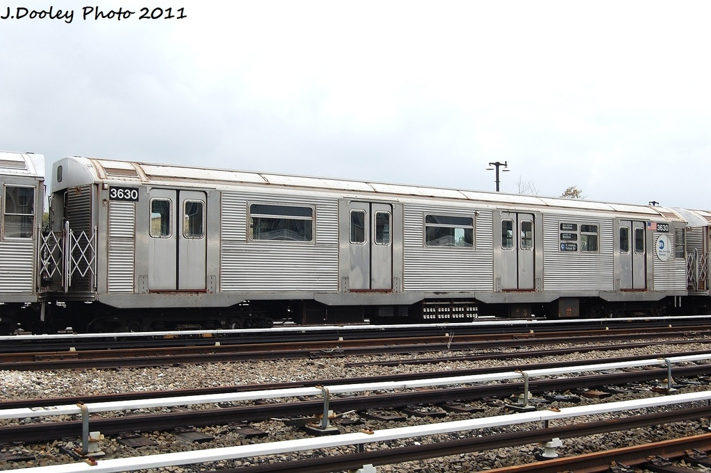 (317k, 1024x681)<br><b>Country:</b> United States<br><b>City:</b> New York<br><b>System:</b> New York City Transit<br><b>Location:</b> Fresh Pond Yard<br><b>Car:</b> R-32 (Budd, 1964)  3630 <br><b>Photo by:</b> John Dooley<br><b>Date:</b> 9/20/2011<br><b>Viewed (this week/total):</b> 2 / 303