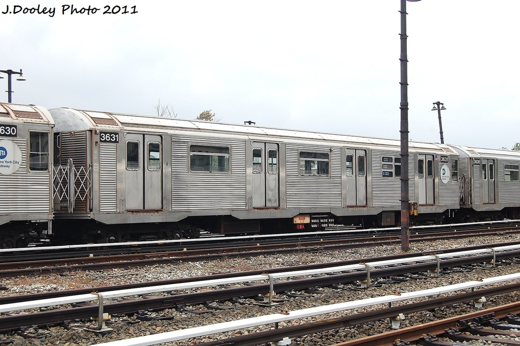 (352k, 1024x681)<br><b>Country:</b> United States<br><b>City:</b> New York<br><b>System:</b> New York City Transit<br><b>Location:</b> Fresh Pond Yard<br><b>Car:</b> R-32 (Budd, 1964)  3631 <br><b>Photo by:</b> John Dooley<br><b>Date:</b> 9/20/2011<br><b>Viewed (this week/total):</b> 0 / 578