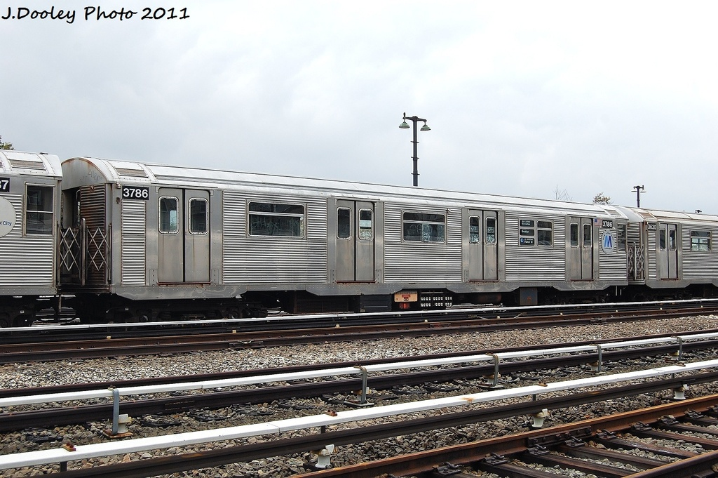 (342k, 1024x681)<br><b>Country:</b> United States<br><b>City:</b> New York<br><b>System:</b> New York City Transit<br><b>Location:</b> Fresh Pond Yard<br><b>Car:</b> R-32 (Budd, 1964)  3786 <br><b>Photo by:</b> John Dooley<br><b>Date:</b> 9/20/2011<br><b>Viewed (this week/total):</b> 2 / 238