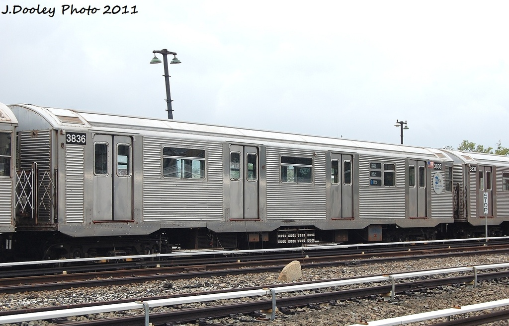 (306k, 1024x657)<br><b>Country:</b> United States<br><b>City:</b> New York<br><b>System:</b> New York City Transit<br><b>Location:</b> Fresh Pond Yard<br><b>Car:</b> R-32 (Budd, 1964)  3836 <br><b>Photo by:</b> John Dooley<br><b>Date:</b> 9/20/2011<br><b>Viewed (this week/total):</b> 0 / 191