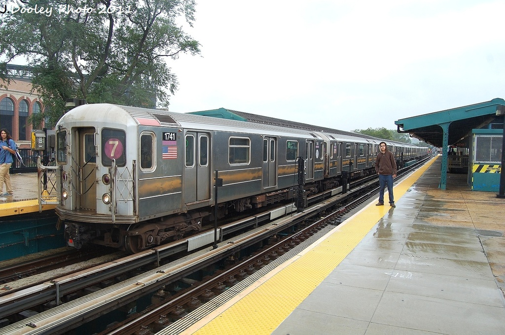 (364k, 1024x680)<br><b>Country:</b> United States<br><b>City:</b> New York<br><b>System:</b> New York City Transit<br><b>Line:</b> IRT Flushing Line<br><b>Location:</b> Willets Point/Mets (fmr. Shea Stadium) <br><b>Route:</b> 7<br><b>Car:</b> R-62A (Bombardier, 1984-1987)  1741 <br><b>Photo by:</b> John Dooley<br><b>Date:</b> 9/20/2011<br><b>Viewed (this week/total):</b> 3 / 700