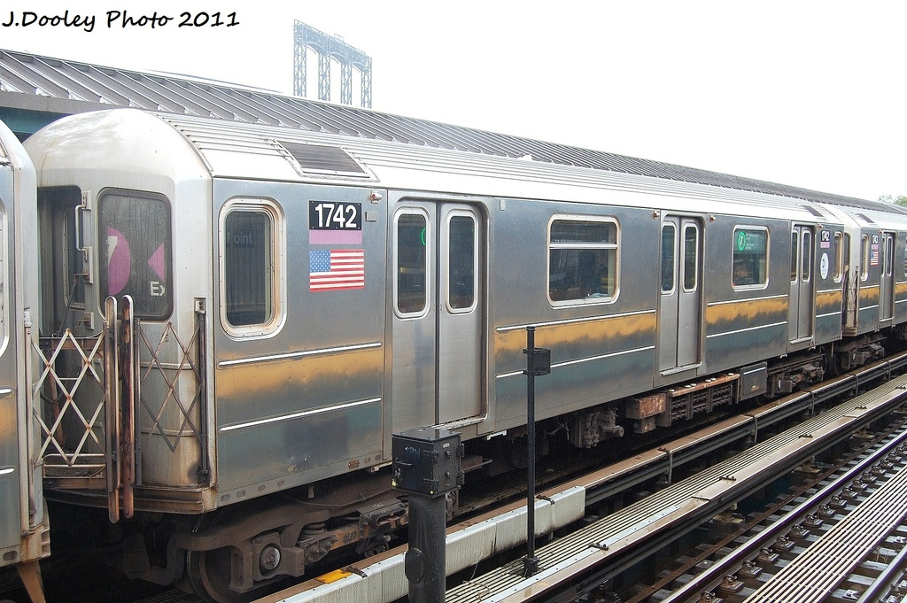 (346k, 1024x681)<br><b>Country:</b> United States<br><b>City:</b> New York<br><b>System:</b> New York City Transit<br><b>Line:</b> IRT Flushing Line<br><b>Location:</b> Willets Point/Mets (fmr. Shea Stadium) <br><b>Route:</b> 7<br><b>Car:</b> R-62A (Bombardier, 1984-1987)  1741 <br><b>Photo by:</b> John Dooley<br><b>Date:</b> 9/20/2011<br><b>Viewed (this week/total):</b> 1 / 164