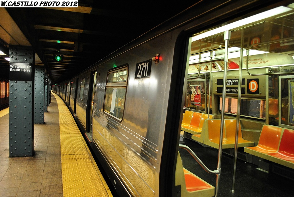 (333k, 1024x687)<br><b>Country:</b> United States<br><b>City:</b> New York<br><b>System:</b> New York City Transit<br><b>Line:</b> BMT Broadway Line<br><b>Location:</b> Whitehall Street <br><b>Route:</b> D<br><b>Car:</b> R-68 (Westinghouse-Amrail, 1986-1988)  2711 <br><b>Photo by:</b> Wilfredo Castillo<br><b>Date:</b> 2/27/2012<br><b>Viewed (this week/total):</b> 0 / 651