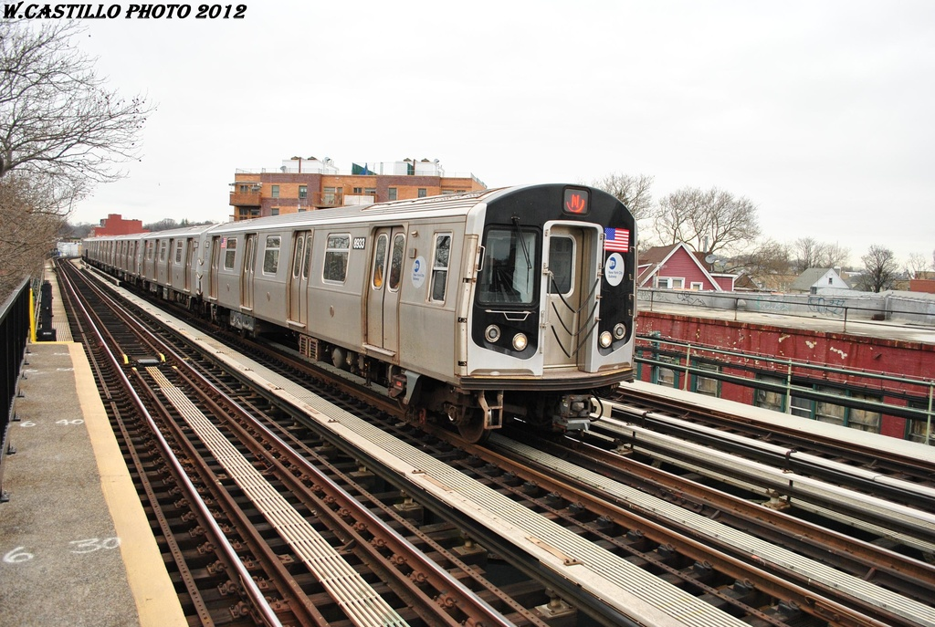 (346k, 1024x687)<br><b>Country:</b> United States<br><b>City:</b> New York<br><b>System:</b> New York City Transit<br><b>Line:</b> BMT West End Line<br><b>Location:</b> 20th Avenue <br><b>Route:</b> N reroute<br><b>Car:</b> R-160B (Kawasaki, 2005-2008)  8933 <br><b>Photo by:</b> Wilfredo Castillo<br><b>Date:</b> 3/1/2012<br><b>Viewed (this week/total):</b> 10 / 728