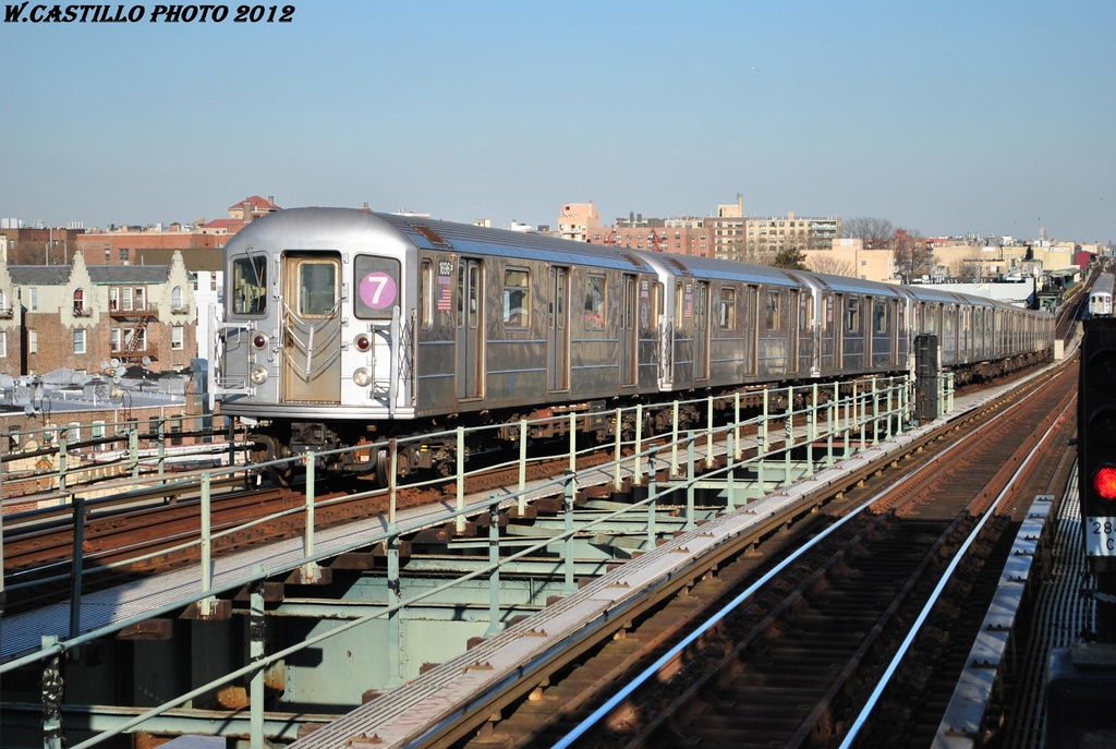 (325k, 1024x687)<br><b>Country:</b> United States<br><b>City:</b> New York<br><b>System:</b> New York City Transit<br><b>Line:</b> IRT Flushing Line<br><b>Location:</b> 61st Street/Woodside <br><b>Route:</b> 7<br><b>Car:</b> R-62A (Bombardier, 1984-1987)  1696 <br><b>Photo by:</b> Wilfredo Castillo<br><b>Date:</b> 3/6/2012<br><b>Viewed (this week/total):</b> 3 / 228