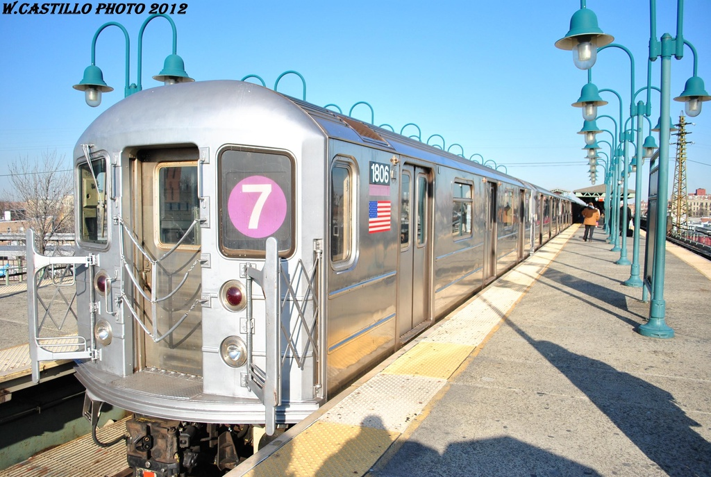 (331k, 1024x687)<br><b>Country:</b> United States<br><b>City:</b> New York<br><b>System:</b> New York City Transit<br><b>Line:</b> IRT Flushing Line<br><b>Location:</b> 61st Street/Woodside <br><b>Route:</b> 7<br><b>Car:</b> R-62A (Bombardier, 1984-1987)  1806 <br><b>Photo by:</b> Wilfredo Castillo<br><b>Date:</b> 3/6/2012<br><b>Viewed (this week/total):</b> 2 / 186