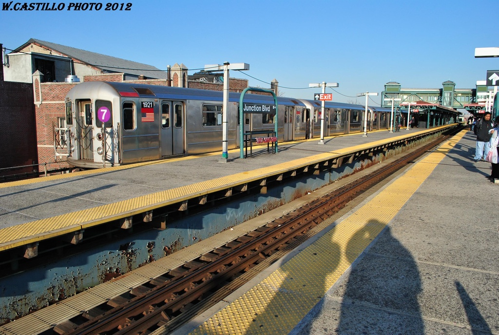 (368k, 1024x687)<br><b>Country:</b> United States<br><b>City:</b> New York<br><b>System:</b> New York City Transit<br><b>Line:</b> IRT Flushing Line<br><b>Location:</b> Junction Boulevard <br><b>Route:</b> 7<br><b>Car:</b> R-62A (Bombardier, 1984-1987)  1921 <br><b>Photo by:</b> Wilfredo Castillo<br><b>Date:</b> 3/6/2012<br><b>Viewed (this week/total):</b> 4 / 978