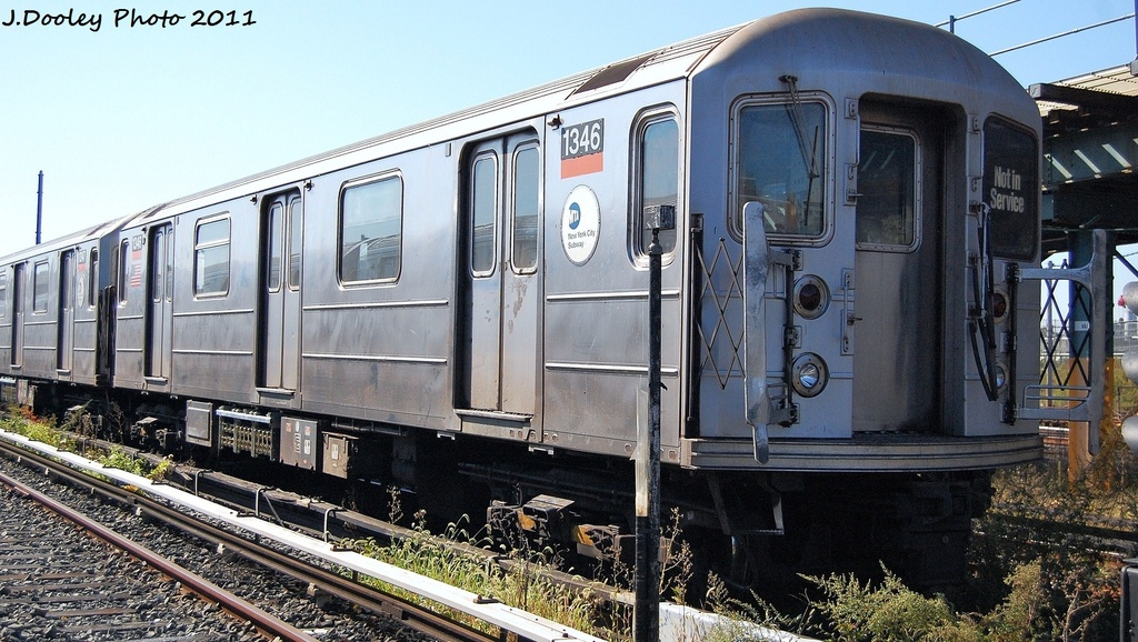 (337k, 1024x578)<br><b>Country:</b> United States<br><b>City:</b> New York<br><b>System:</b> New York City Transit<br><b>Location:</b> Coney Island Yard<br><b>Car:</b> R-62 (Kawasaki, 1983-1985)  1346 <br><b>Photo by:</b> John Dooley<br><b>Date:</b> 10/9/2011<br><b>Viewed (this week/total):</b> 1 / 337