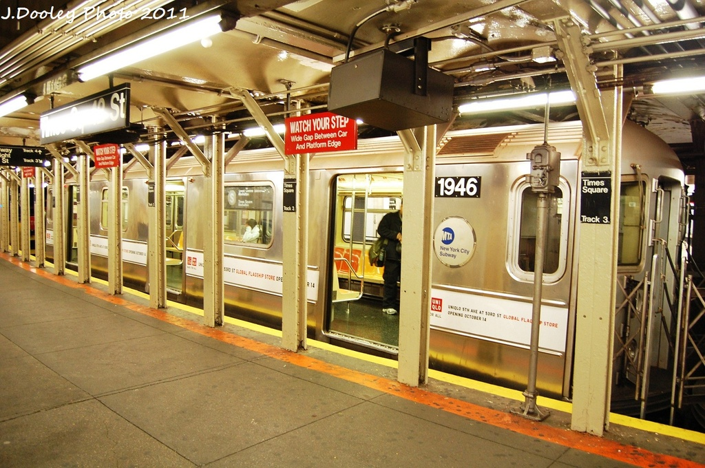 (373k, 1024x680)<br><b>Country:</b> United States<br><b>City:</b> New York<br><b>System:</b> New York City Transit<br><b>Line:</b> IRT Times Square-Grand Central Shuttle<br><b>Location:</b> Times Square <br><b>Route:</b> S<br><b>Car:</b> R-62A (Bombardier, 1984-1987)  1946 <br><b>Photo by:</b> John Dooley<br><b>Date:</b> 10/23/2011<br><b>Viewed (this week/total):</b> 4 / 568