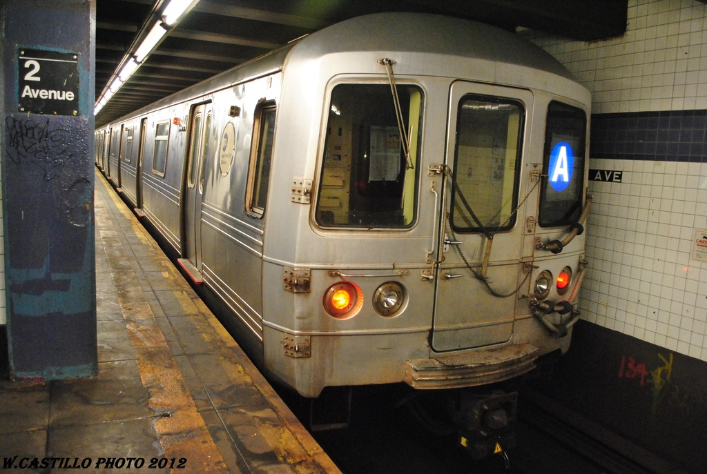 (295k, 1024x687)<br><b>Country:</b> United States<br><b>City:</b> New York<br><b>System:</b> New York City Transit<br><b>Line:</b> IND 6th Avenue Line<br><b>Location:</b> 2nd Avenue <br><b>Route:</b> A reroute<br><b>Car:</b> R-46 (Pullman-Standard, 1974-75) 5944 <br><b>Photo by:</b> Wilfredo Castillo<br><b>Date:</b> 3/13/2012<br><b>Viewed (this week/total):</b> 0 / 158