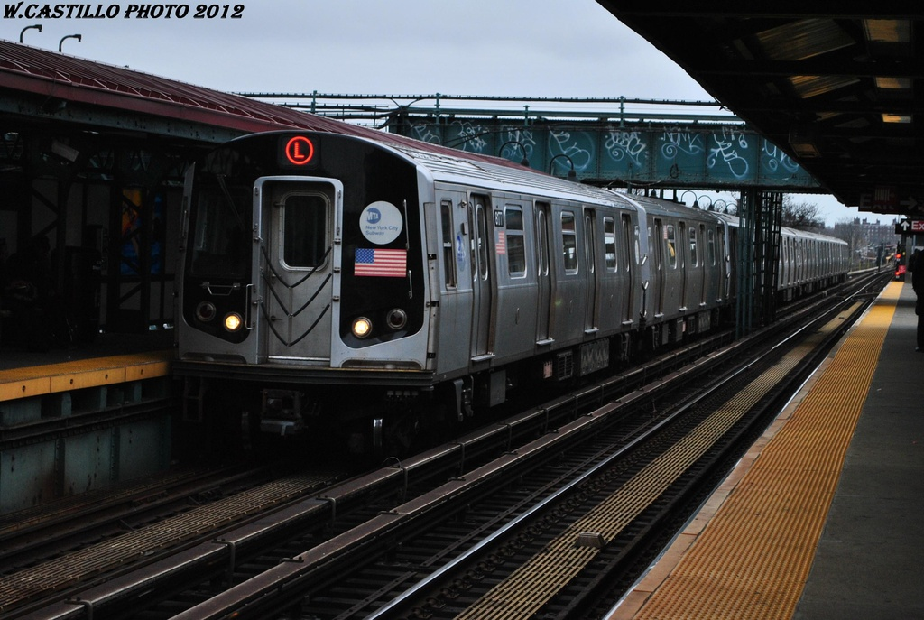(293k, 1024x687)<br><b>Country:</b> United States<br><b>City:</b> New York<br><b>System:</b> New York City Transit<br><b>Line:</b> BMT Canarsie Line<br><b>Location:</b> Livonia Avenue <br><b>Route:</b> L<br><b>Car:</b> R-143 (Kawasaki, 2001-2002) 8177 <br><b>Photo by:</b> Wilfredo Castillo<br><b>Date:</b> 3/15/2012<br><b>Viewed (this week/total):</b> 0 / 322