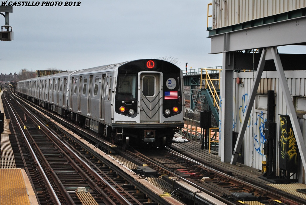 (316k, 1024x687)<br><b>Country:</b> United States<br><b>City:</b> New York<br><b>System:</b> New York City Transit<br><b>Line:</b> BMT Canarsie Line<br><b>Location:</b> Livonia Avenue <br><b>Route:</b> L<br><b>Car:</b> R-143 (Kawasaki, 2001-2002) 8269 <br><b>Photo by:</b> Wilfredo Castillo<br><b>Date:</b> 3/15/2012<br><b>Viewed (this week/total):</b> 2 / 477